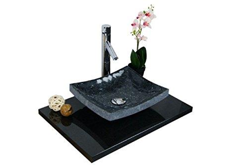Waschbecken aus Naturstein, Granit, Model Dublin, Pearl Blue, 35x30cm -
