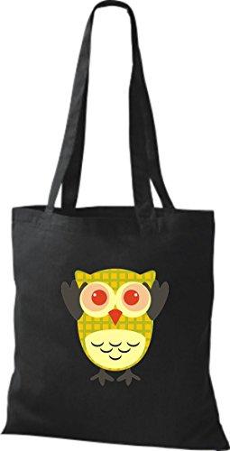 ShirtInStyle Jute Stoffbeutel Bunte Eule niedliche Tragetasche mit Punkte Owl Retro diverse Farbe, hellblau schwarz