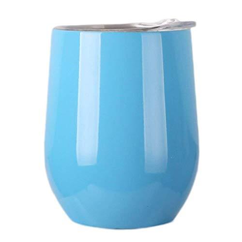 aus Edelstahl Weinbecher mit Deckel Outdoor Wein Glas (Blau) ()