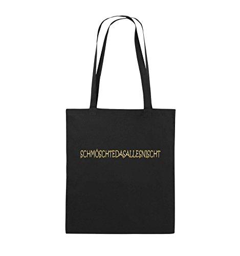 Comedy Bags - SCHMÖSCHTEDASALLESNISCHT - Jutebeutel - lange Henkel - 38x42cm - Farbe: Schwarz / Pink Schwarz / Gold