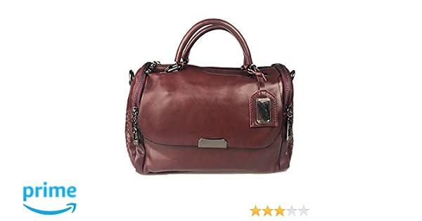 7095c538a7 Modesty Borsa a tracolla in pelle PU rivetto borsa moda boston borsa da  donna per donna stile selvaggio (Vin rouge) WW005: Amazon.it: Scarpe e borse