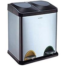 Arregui Step Bin Cubo de Reciclaje de Acero Inoxidable con 2 Compartimentos y 2 Cubetas, Gris