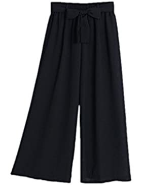 Zojuyozio Mujeres Verano Elegante Gasa Cintura Alta Pantalones De Pierna Ancha Trouses Con Cinturón