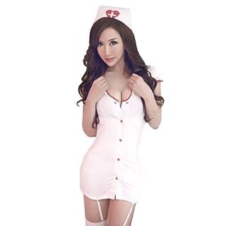 ACEFAST INC Sexy White Nurse Uniform Costume Cosplay Lingerie Mini Dress
