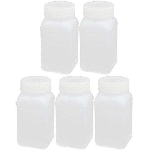 sourcing map 5Pcs 250ml HDPE Plastik Breit Mund Quadraht Flüssigkeit Vorratsflasche Behälter DE de -