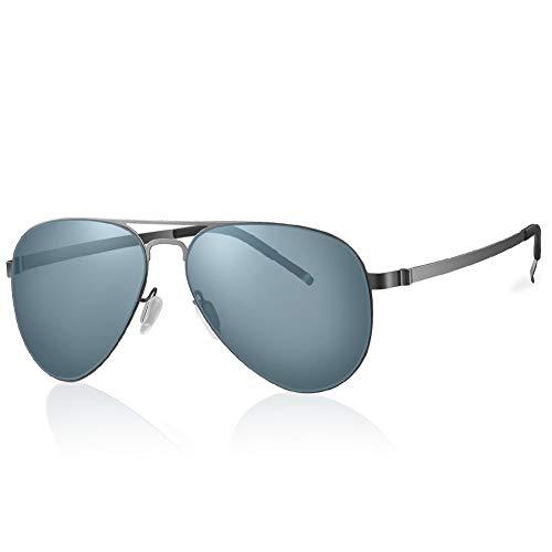Highland Park sonnenbrille männer polarisiert Herren Pilotenbrille damen Super Licht verspiegelt Retro Nylon Linsen Unisex UV400 Schutz mit harter Box (Silber/Grau)