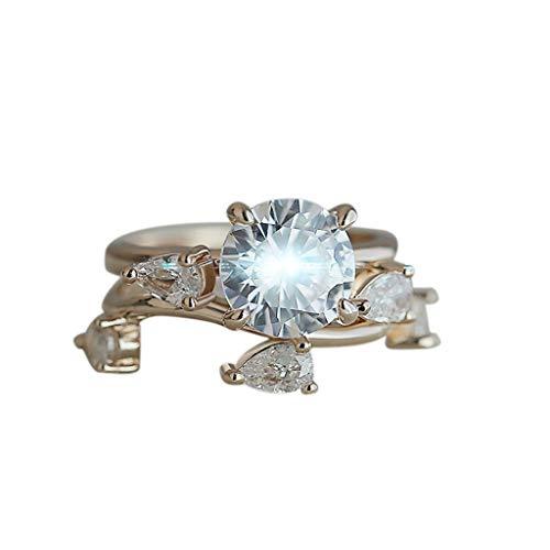 Pilgrim Baby Kostüm - UINGKID Schmuck Damen Ring 2 STÜCK Edle Kreative Rose Gold Runde Tropfen Diamant Zirkon