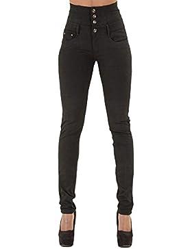 Minetom Mujeres Casual Cintura Alta Elástico Flacos Push Up Skinny Tejanos Jeans Flaco Derecho Mezclilla Pantalones...