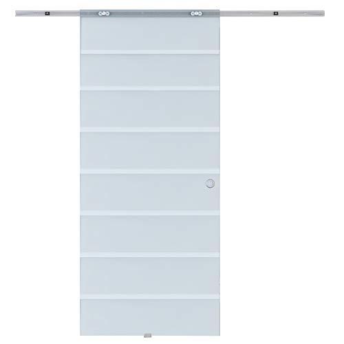 Homcom Glasschiebetür Schiebetür Glastür Zimmertür teilsatiniert 775/900/1025 x 2050 mm (Modell1/775 x 2050 mm)