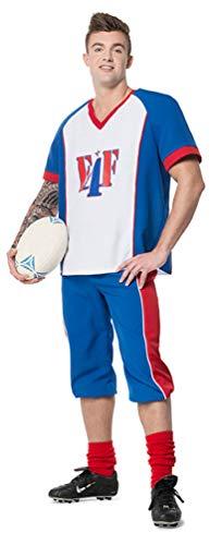 merican Football Kostüm Football-Spieler USA Quarterback blau weiß rot Fasching Herrenkostüm Größe 56 ()
