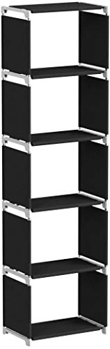 SONGMICS LSN15H - Estantería de pie, soporta hasta 10 kg, para Cocina, Pasillo, sótano o Estudio, 5 Compartimentos, Color Negro, 50 x 30 x 180 cm, Metal