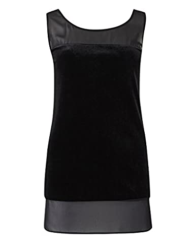 Womens Velour Vest With Woven Trim in