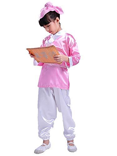 Für Kinder Jungen Chinesische Kostüm - BOZEVON Hanfu - Kinder Traditionelle Chinesische Kostüme Jungen und Mädchen Konfuzius Kleidung,Rosa,EU 90=Tag 100