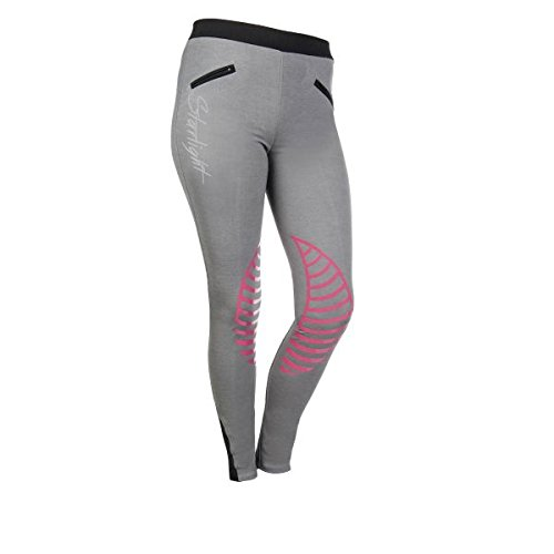 HKM reitle ggings–Starlight silicone ginocchio per guarnizione, hellgrau/pink, 170/176