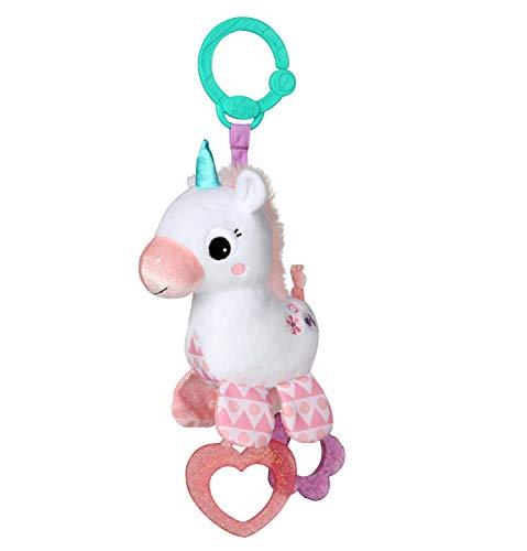 Bright Starts Spielzeug zum Anbringen an den Kinderwagen, Einhorn, mit 2 Beißringen, rasselt, regt den Tastsinn an
