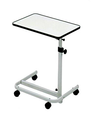 Beistell-Tisch Krankenbett, fahrbar mit 2 Feststellbremsen, stufenlos höhenverstellbar, Tischneigung