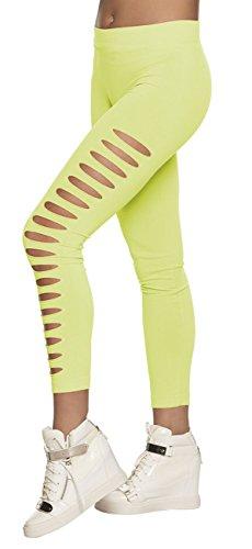 Boland Pantaloni Leggings con Strappi (Taglia M Stretch), Verde Neon Adulti, 02321
