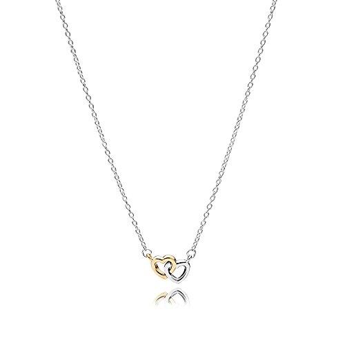 Pandora Kette mit Anhänger Herzen, Silber mit Gold 585 590517-45