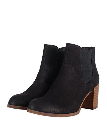 Vagabond Anna Black Boots - Stivaletti Da Donna Neri Con Tacco In Legno Black