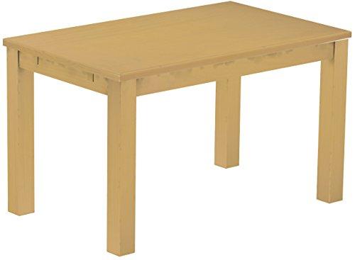 Brasilmöbel Esstisch Rio Classico 130x80 cm Sand Holz Tisch Pinie Massivholz Esszimmertisch Küchentisch Echtholz Größe und Farbe wählbar ausziehbar vorgerichtet für Ansteckplatten