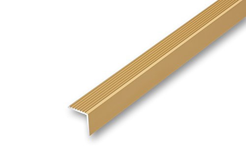 acerto 51112 Aluminium Treppenwinkel-Profil silber * Rutschhemmend * Robust * Leichte Montage Treppenstufen-Profil aus Alu Treppenkanten-Profil 32x30mm Selbstklebendes TreppenProfil 135cm