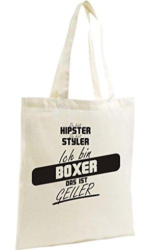 Shirtstown Shopping Bag Organic Zen, Shopper du bist hypster du bist styler ich bin Boxer das ist geiler natur