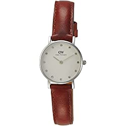 Daniel Wellington Women's Quartz Watch with White Dial Analogue Display and Brown Leather Strap 0920DW