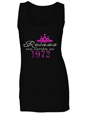 Reinas son nacidas en 1972 camiseta sin mangas mujer dd84ft
