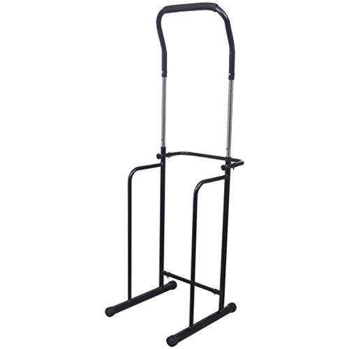ghuanton Verstellbare Klimmzug-Dip-Station Klimmzugstange 175-224 cm schwarz Sportartikel Fitness Gewichtheben Krafttrainingsgeräte