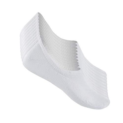 TUUHAW Füßlinge Herren Damen Footies Unsichtbare Kurze 10 Paar Sneaker Socken Großes Silikonpad Verhindert Verrutschen_Weiß_39-42