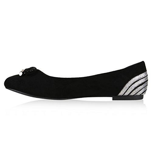 Klassische Übergrößen Damen Ballerinas Lederoptik Freizeit Flats Schuhe Schwarz Glitzer