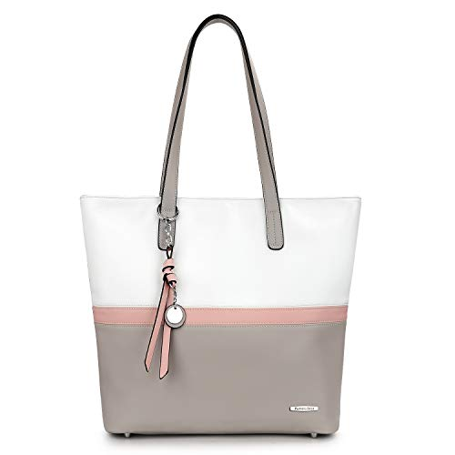 Pomelo Best Damen Handtasche Mehrfarbig gestreift Umhängetasche Tote-Tasche (Grau) (Laptop-tasche Damen Geldbörse)