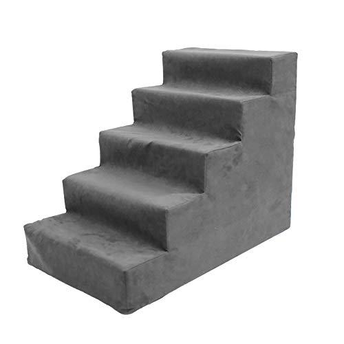 WYDM Hundetreppe für Hochbett 5 Schritt, Kleintier Katze Schritt Hocker für Schlafsofa, Schwamm Wildleder, 60 × 40 × 50 cm (Farbe : Gray)
