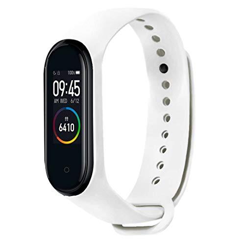 Xiaomi Mi Band 4 Smart Band AMOLED Touchscreen Activity Tracker, Armband: Silikon Weiß, inkl. Wechselarmband: Schwarz - Silikon