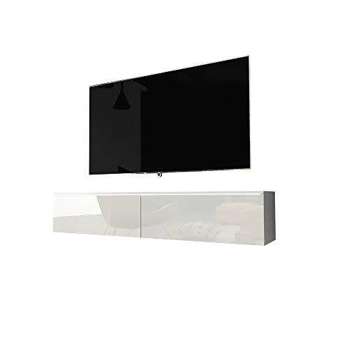 Kane - Fernsehschrank/Tv-Lowboard Hängend In Weiß Hochglanz Mit Led 140Cm