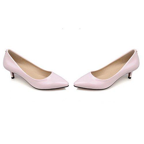 AllhqFashion Damen Eingelegt Pu Leder Mittler Absatz Ziehen Auf Pumps Schuhe Pink