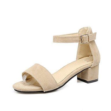 LvYuan Da donna Sandali Comoda Con cinghia Sintetico Estate Formale Comoda Con cinghia Quadrato Heel di blocco Nero Beige Rosa 5 - 7 cm beige