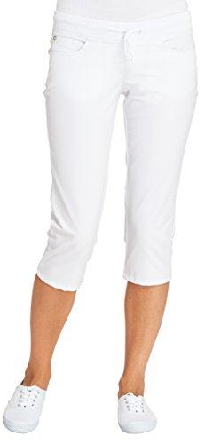 clinicfashion 10627026 Stretch Jeans Hose 3/4 Capri Damen weiß, Strickbund mit Kordelzug, Mischgewebe, Größe 46 -