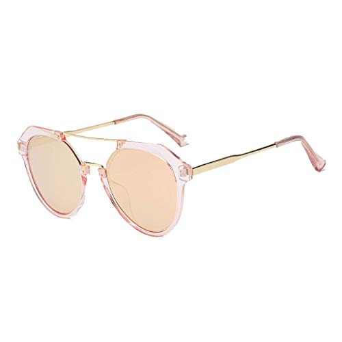 Sonnenbrille Runder Rahmen Fahren Sport Fotografie Reisen Metall Mode Retro Komfort Dauerhaft Blendschutz Augenschutz Paare Persönlichkeit Brille (Farbe: Powder Frame Pink Lens)