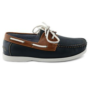 NEW MENS LEATHER LACE UP DECK BOAT CASUAL SHOES UK SIZE 7 8 9 10 11 (9, NAVY / BROWN)