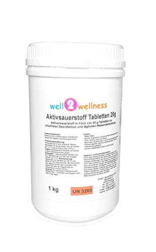 well2wellness Aktivsauerstoff Tabletten 20g / Sauerstofftabs/O²-Tabs 20g chlorfrei - 1,0 kg - Tabs Wasseraufbereitung