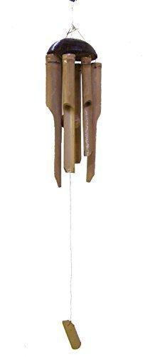 Pequeño bambú y Coco Campana De Viento para uso en interiores y aire libre, el más largo timbre 12 pulgadas / 30 cm - Comercio Justo