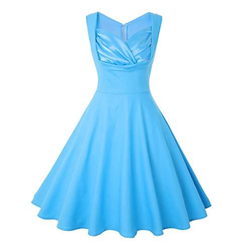Kostüm Ernie Retro - KUKICAT Damen's V-Ausschnitt Solid Vintage Style Retro Rockabilly Abendkleider Retro PartykleiderSchwingen Kleid