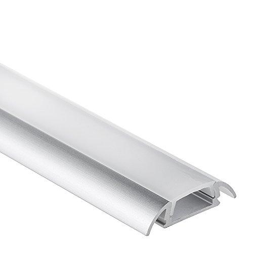 P17 Botein Aluminium Profil Alu Profil mit Flügel LED Profil 2 meter inkl. Abdeckung Opal (milchig)