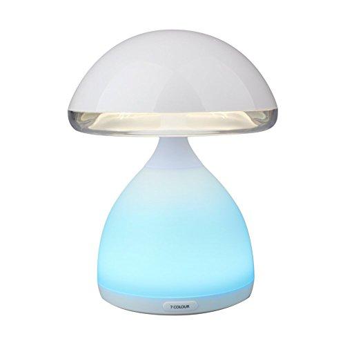 Kinder Nachttischlampe, Minkle Mini LED Kinderlampe mit Vibrationsschalter und Basis mit Farbwechsler für 7 Farben, Weiß