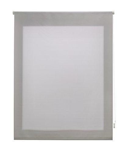 Uniestor Estor Enrollable Liso Traslúcido, Tela, Plata, 6x120x250 cm