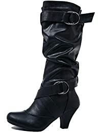 67c9cbd9c630 Guilty Shoes Winter Mid Calf - Strappy Slouchy Buckle - Low Kitten Heel  Boots