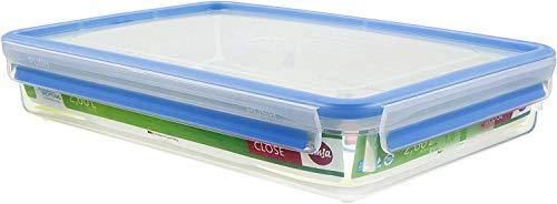 Emsa 508545 Rechteckige Frischhaltedose mit Deckel, 2.6 Liter, Transparent/Blau, Clip & Close