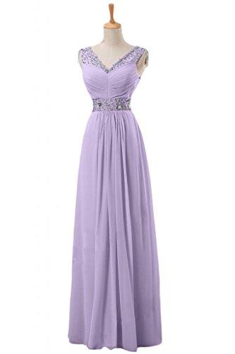Sunvary A-line Sapghetti donna con scollo A V, con cinghie V-back bridesmaid Gowns Viola