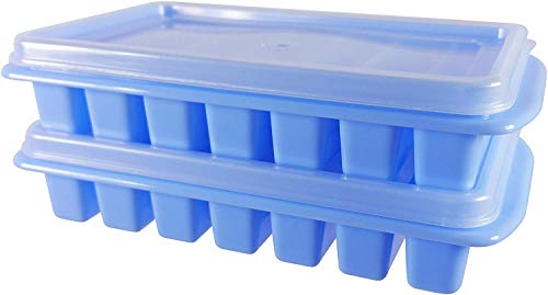 HASAKA 2 Mini Ice Cube Trays mit Deckel-Kreates Perfect Ice for Water Bottles-Great Size for Small Dorm Freezers, Campers and Vs with No Spill Covers by (Blue)